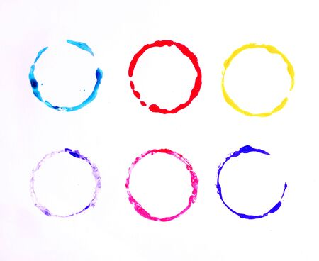 Set of multicolored watercolor circles photo