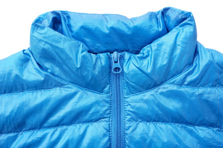 Close up of down jacket with zipper
