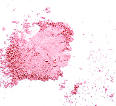 Makeup cheeks and eye. Pink Cosmetic powder on white background