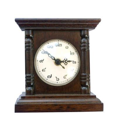 horloge ancienne: horloge antique isol�e sur fond blanc Banque d'images