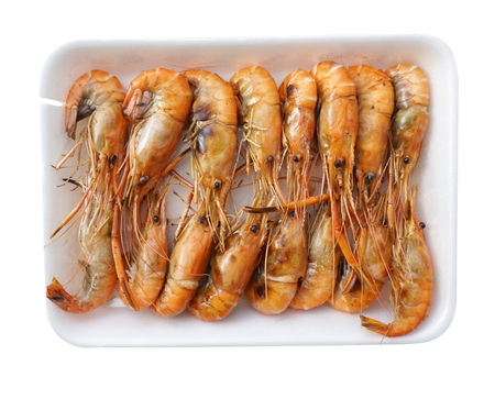 Grilled shrimp isolated on a white background photo