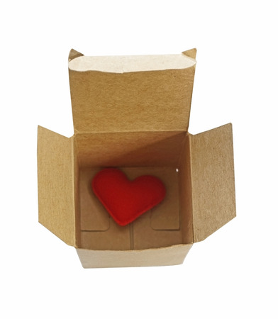 Red Heart in paper box isolate on white background  photo