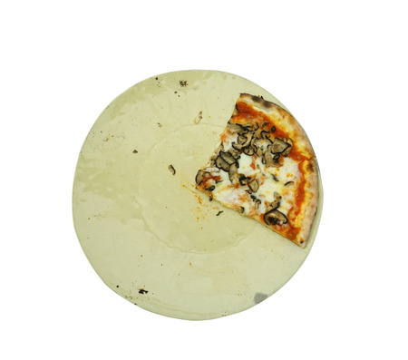 sliced baked pizza on plate isolated with clipping path photo