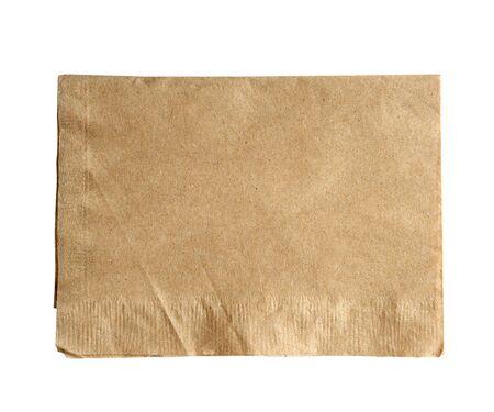 �napkin: servilleta marr�n aislar en blanco (camino de recortes) Foto de archivo