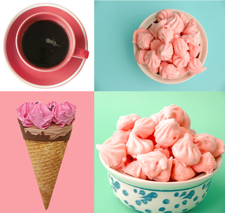 Pastel colored ice cream, coffee and meringue collage photo