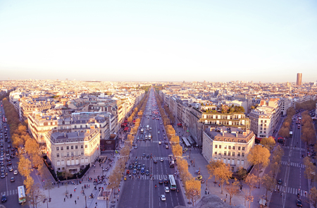 View on Avenue des Champs-Elysees from Arc de Triomphe at sunset, Paris, France photo