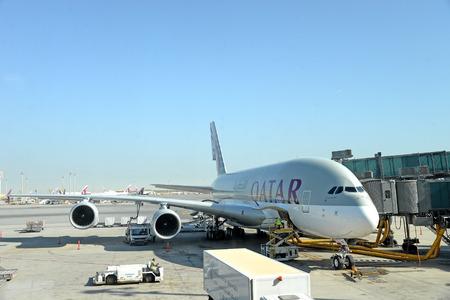 er: QATAR DOHA - April 20: Qatar Airways Boeing 777 ER on static display at Hamad International Airport April 20, 2015 in Doha Qatar.