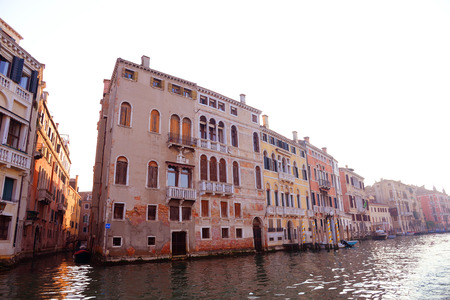 Grand Canal and narrow canal. Venice, Italy. photo