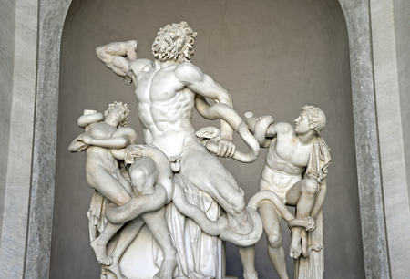 italian fresco: Laocoon and His Sons statue in Vatican Museum