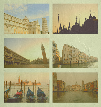 famous place: Collage of Italy famous place, in vintage tone on cement wall texture. Stock Photo