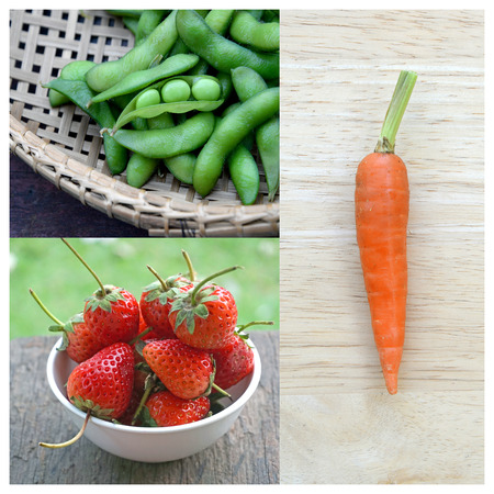 Collage of Strawberry, carrot and green peas. Healthy concept. photo