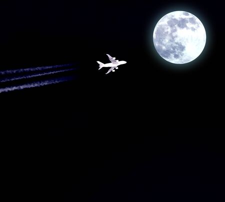 airfoil: Airplane flies in direction moon at night