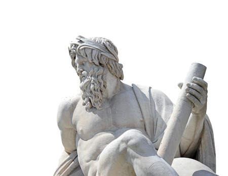 Statue of the god Zeus in Bernini's Fountain of the Four Rivers in the Piazza Navona, Rome (isolate with clipping path) Banque d'images