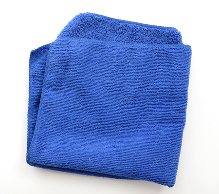 microfiber cloth: blue microfiber cloth isolated on white background
