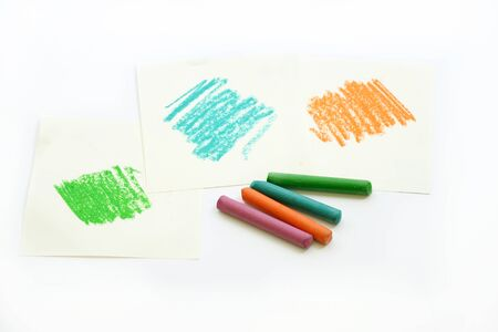 wax: color wax pastel crayon on white papers