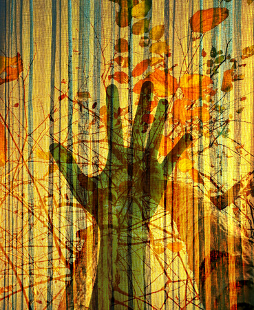Abstract environment conceptual, hand and tree silhouette on grunge paper texture. Double exposure effect.