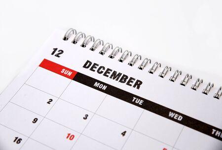 december calendar: December calendar on a white background