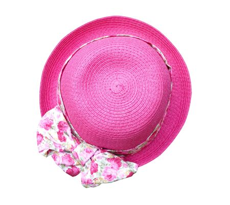 personal accessory: Beautiful summer woman hat with flower isolated on white background (clipping path)
