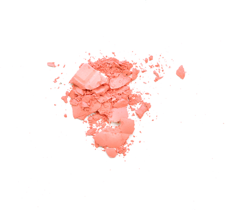 Makeup cheeks and eye. Pink Cosmetic powder on white 版權商用圖片