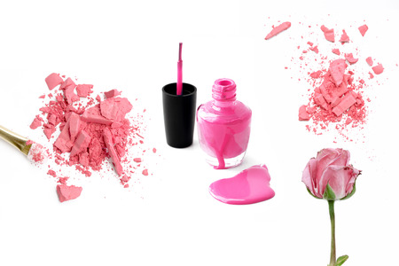 pink powder: Decorative cosmetic samples isolated on white. pink powder, polish