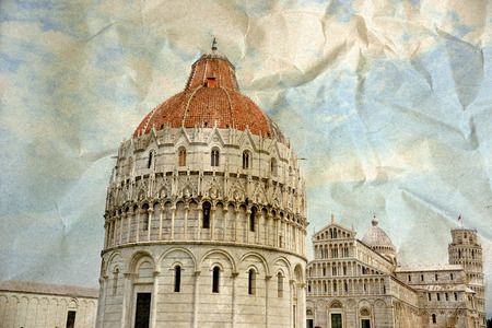 miracoli: Piazza dei Miracoli complex with the leaning tower of Pisa, Italy Stock Photo