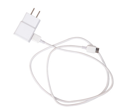 Adapter Charger with usb cable isolate on white (clipping path)