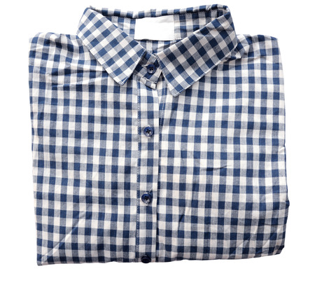 blue plaid: Bright blue plaid shirt isolate on white (clipping path)