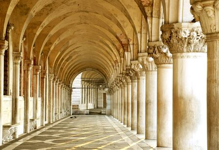 doges  palace: Row of arches underneath the Doges Palace in Piazza San Marco in Venice. The famouse place in Venice.