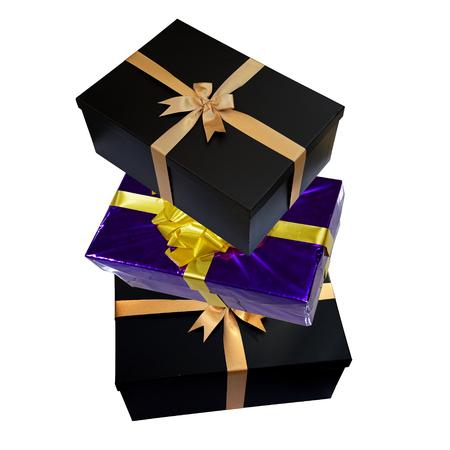 three gift boxes: Three gift boxes stack Foto de archivo