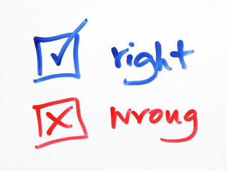 rightful: writing check box wrong or right on white background Stock Photo