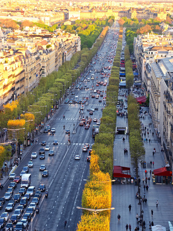 champs elysees: Paris aerial view from Triumphal Arch on Champs Elysees