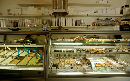 ROME, ITALY - APRIL 18, 2015: Ice cream shop called Gelato, the famouse Italian ice cream in Rome Italy. Editorial