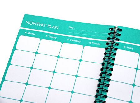 Monthly planner close up