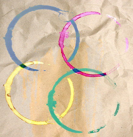cruddy: Colorful coffee stains on paper texture Stock Photo