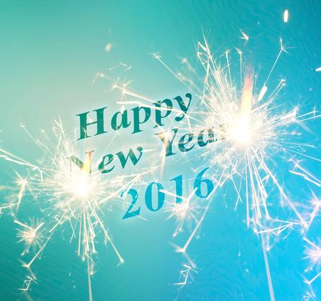 brig: 2016 New Year sparkler on blue. illustration Stock Photo