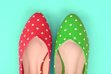 flat shoes: Red and green polka dot flat shoes (Vintage style)