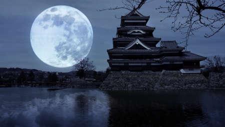 matsumoto: Matsumoto Castle Reflection with Full Moon, Nagano, Japan