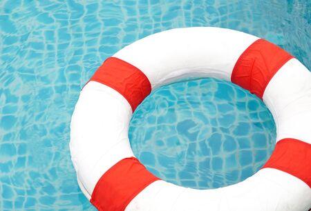 round collar: Swimming pool and lifeguard, Ring Pool. Stock Photo