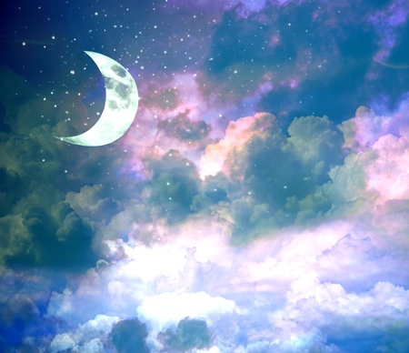 New moon on evening blue sky with shining stars