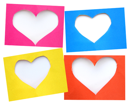 symbol: colorful torn paper in heart shape symbol over white background