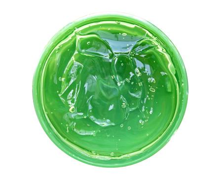 Fresh Aloe Vera Gel in circle box isolated Standard-Bild