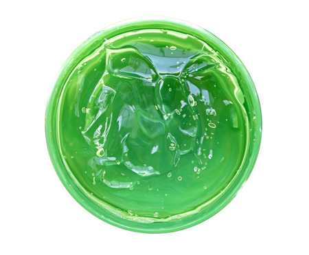 Fresh Aloe Vera Gel in circle box isolated Stockfoto