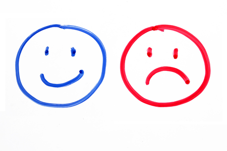 ambivalent: Handing drawing faces emotions on whiteboard