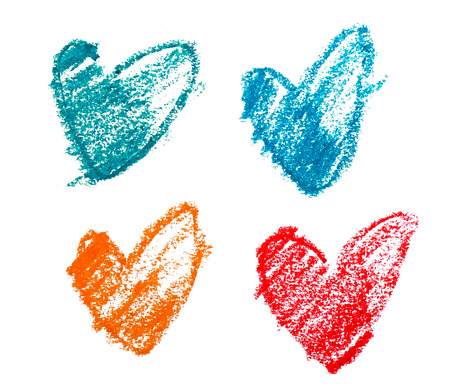 basic shapes: various colors of sketch shape of hearts on white background Stock Photo