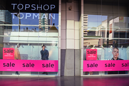 famous industries: BANGKOK, Thailand - January 10, 2016: Topshop Topman store at Central World Shopping Center Bangkok. It is on sale final clearance.