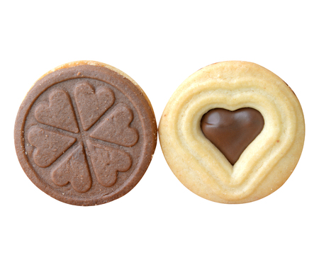 clipping: Homemade heart-shaped cookies on a white background (clipping path)