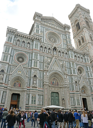 concluded: FLORENCE, ITALY-APRIL 17: A view of the Basilica of Santa Maria del Fiore on April 17, 2015 in Florence, Italy Goticorenacentista style is its construction began in 1296 and concluded in 1418