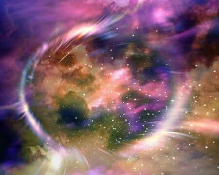 annihilation: Stars and material falls into a black hole Stock Photo