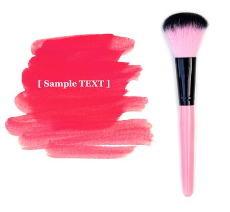 make up brush: Make up brush isolate on white with paint pink for your text (sample text) Stock Photo