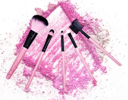 pink powder: professional make-up brush with dust pink powder Stock Photo